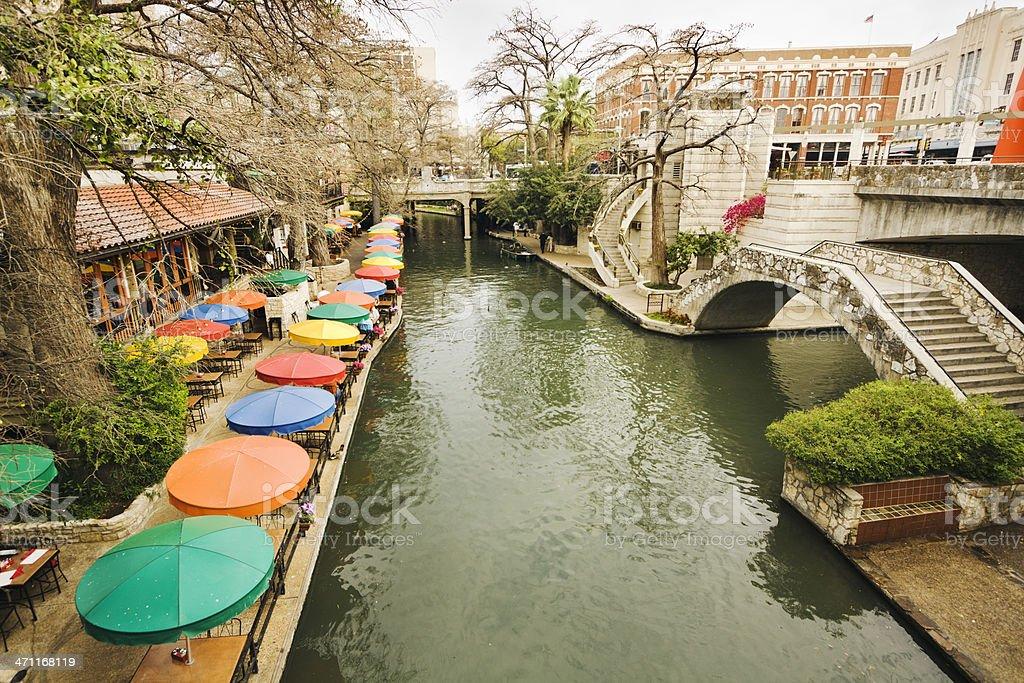 Riverwalk Downtown Tourist and Retail  District of San Antonio Texas stock photo