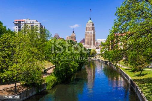 Riverwalk - San Antonio Texas,  park walkway along scenic canal