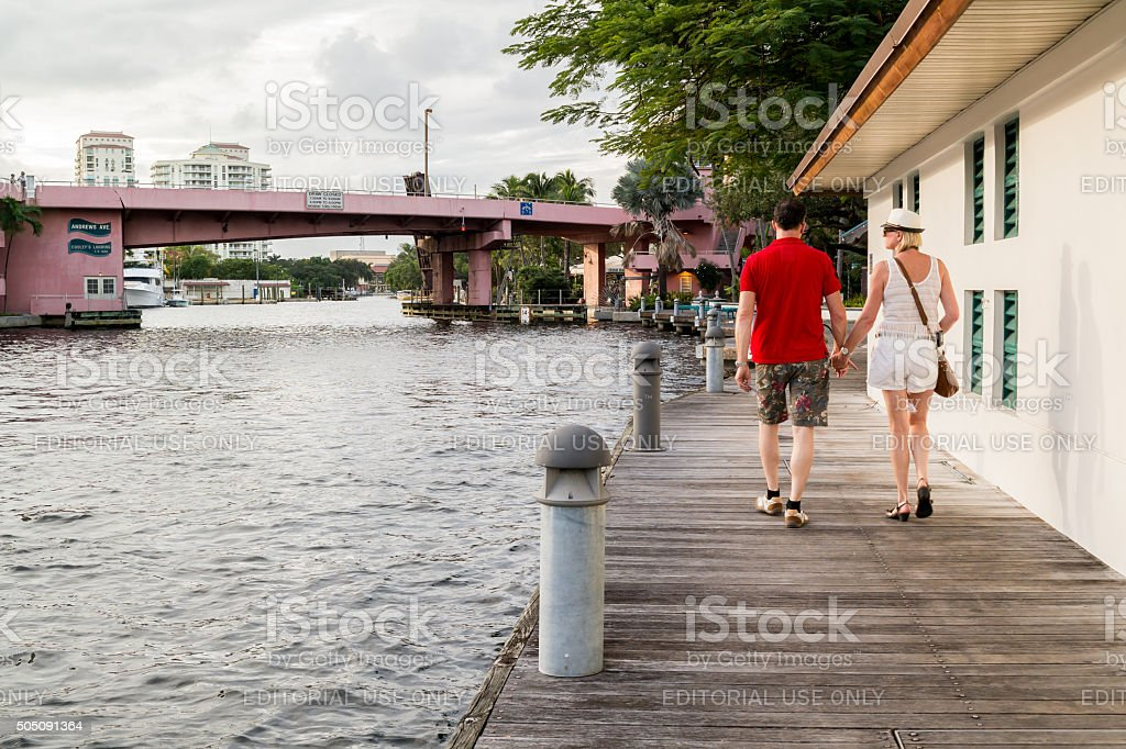 Riverwalk with people in Fort Lauderdale, Florida stock photo