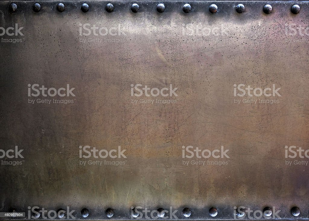 Riveted metal plate stock photo