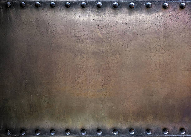 riveted metal plate - rusty stock photos and pictures
