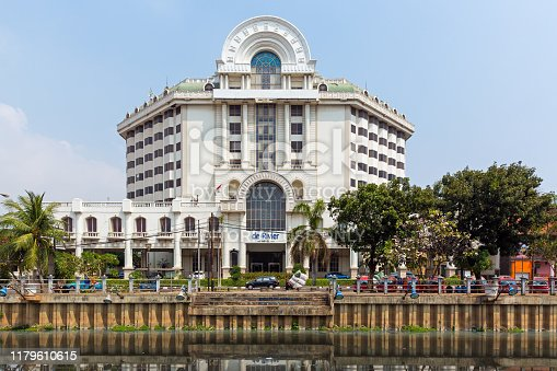 Beautiful view of colonial hotel De Rivier in Kota Tua Jakarta (aka old town or Batavia), Indonesia, on August 1, 2015