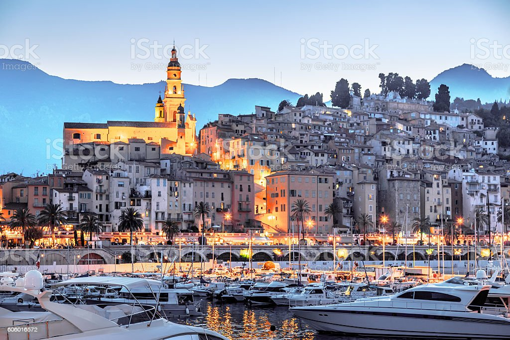 Riviera town Menton view in sunset stock photo
