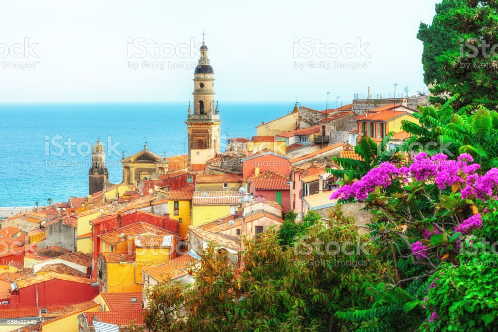 Riviera town Menton view stock photo