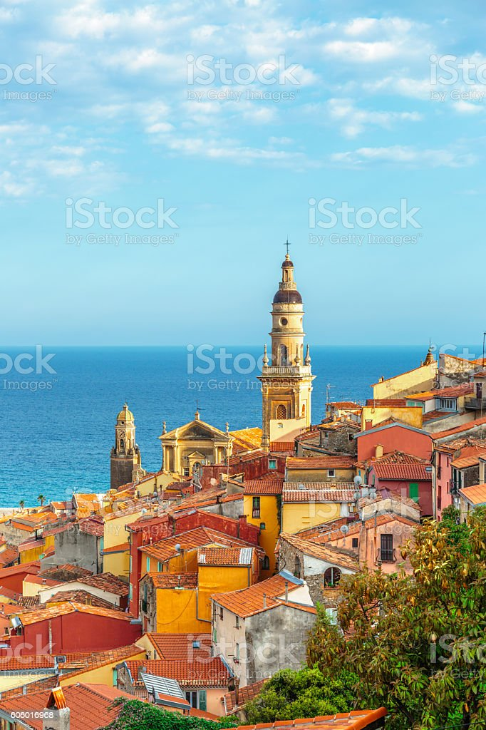 Riviera town Menton view with sea stock photo