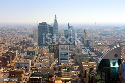 Riyadh, Saudi Arabia: view over the business district along King Fahd Road, with Olaya Street on the left - skyline with skyscrapers, Olaya Towers, Al Faisaliah tower, Marriot, Hamad Tower...