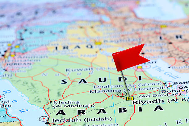 riyadh pinned on a map of asia - saudi arabia map stock photos and pictures