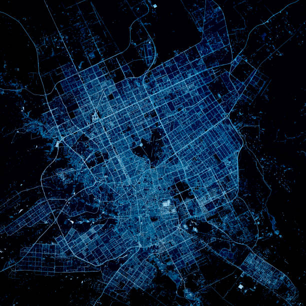 riyad saoedi-arabië 3d render kaart blue top view mei 2019 - roadmap stockfoto's en -beelden