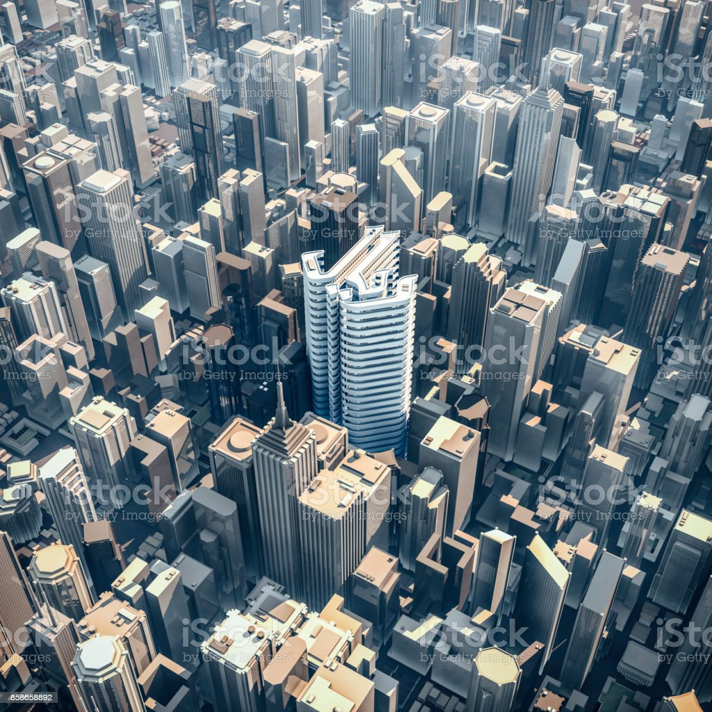 Riyal office tower concept stock photo