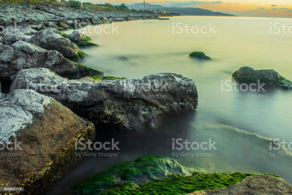 Rize Sunset on the Beach stock photo