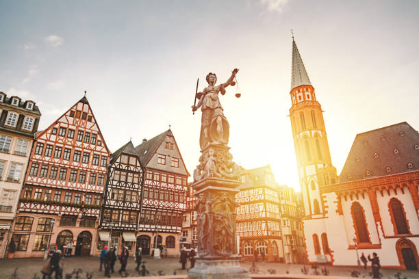 römerberg old town square in frankfurt, germany - german culture stock pictures, royalty-free photos & images