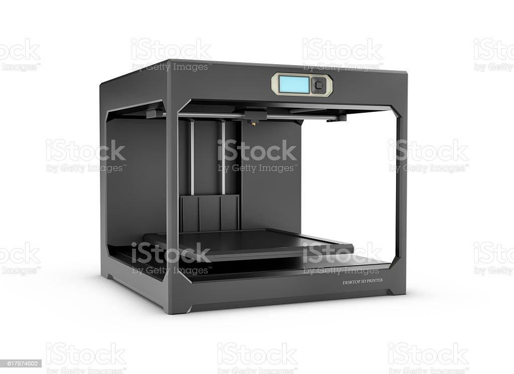 Rndering of black desktop 3d printer isolated on the white bildbanksfoto
