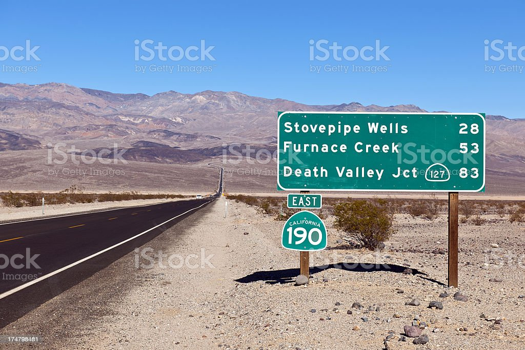 Road 190 in Panamint Valley, California USA stock photo