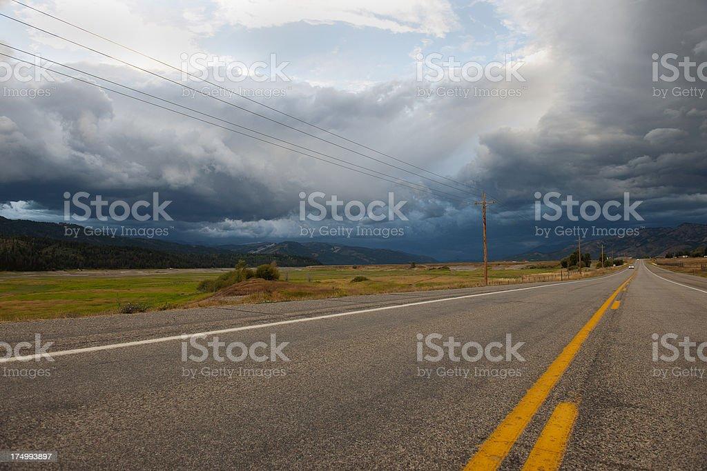 Road 89 N.Main Before Storm Wyoming USA royalty-free stock photo