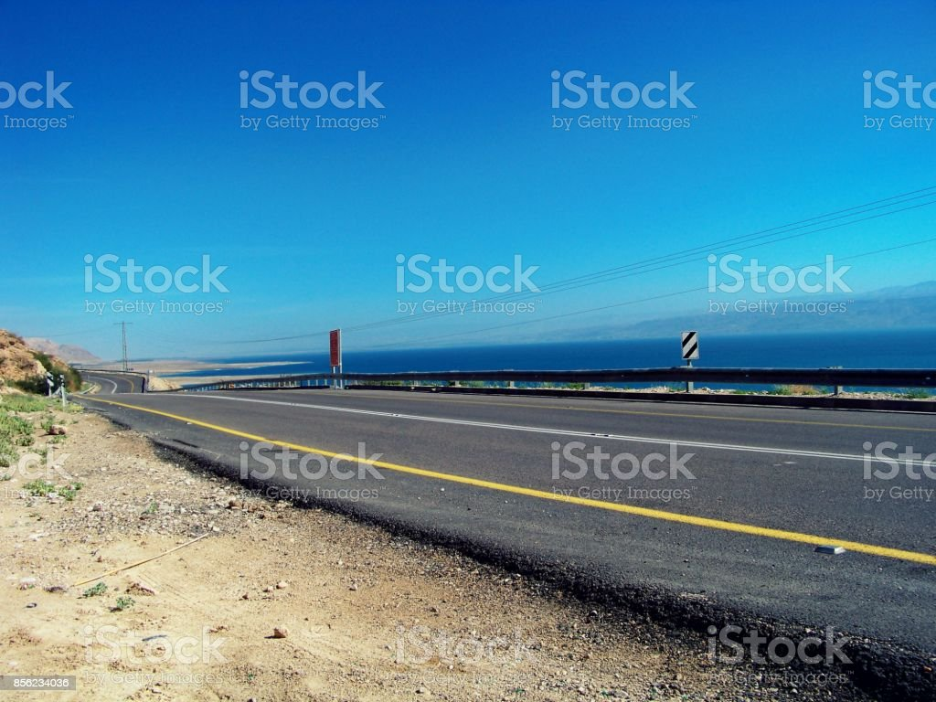 Road 90 by The Shore of Dead Sea stock photo