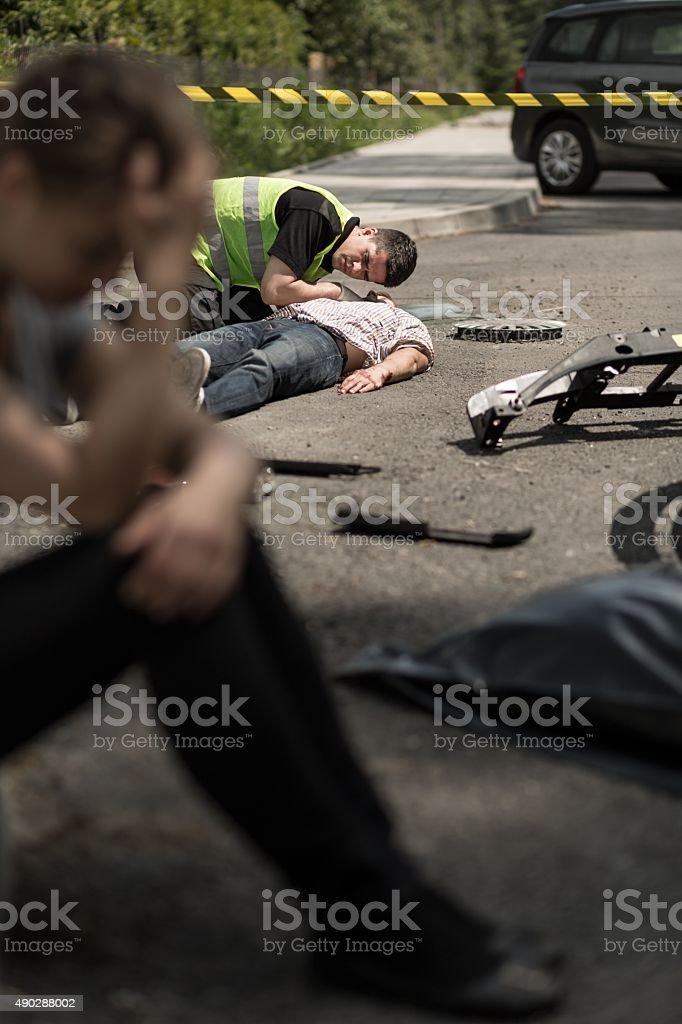 Road accident scene stock photo