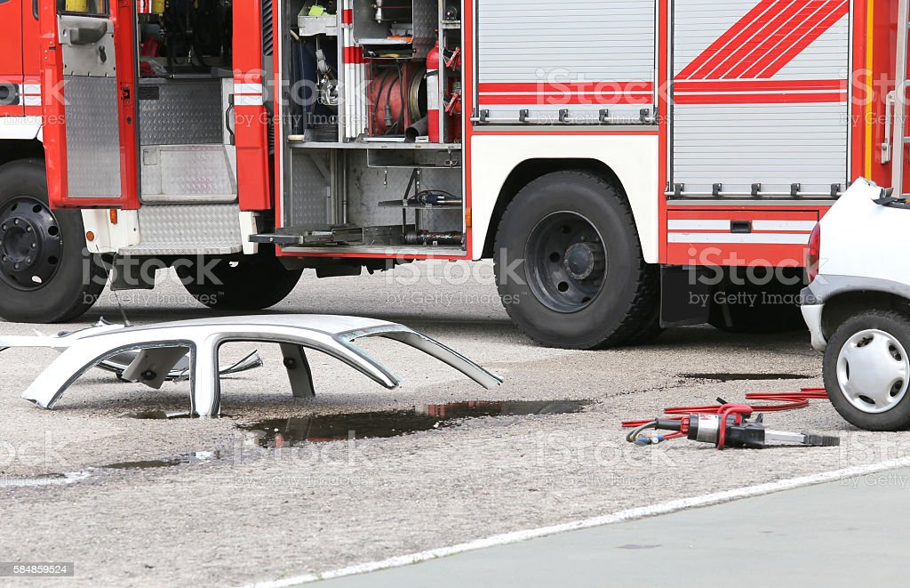 road accident with car parts stock photo