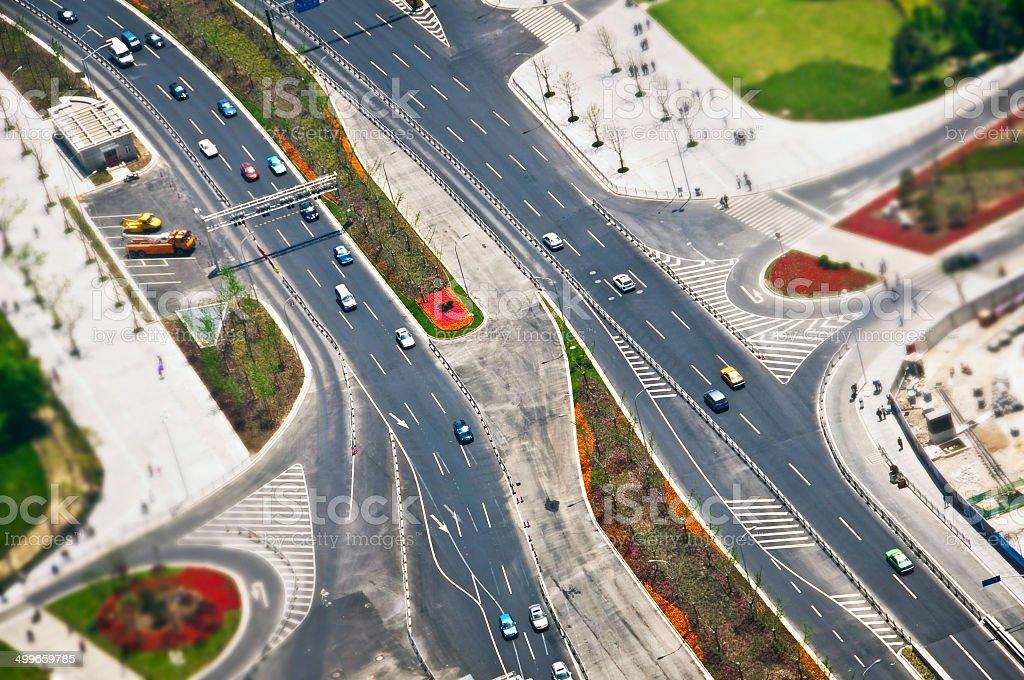 Road, aerial  view, tilt-shift stock photo