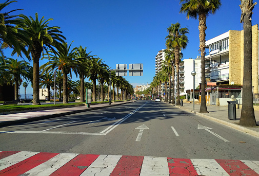 Road along promenade of Salou