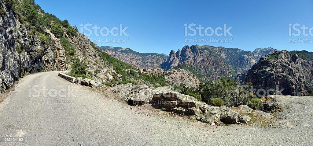 Road along Spelunca Canyon in Corsica Island stock photo