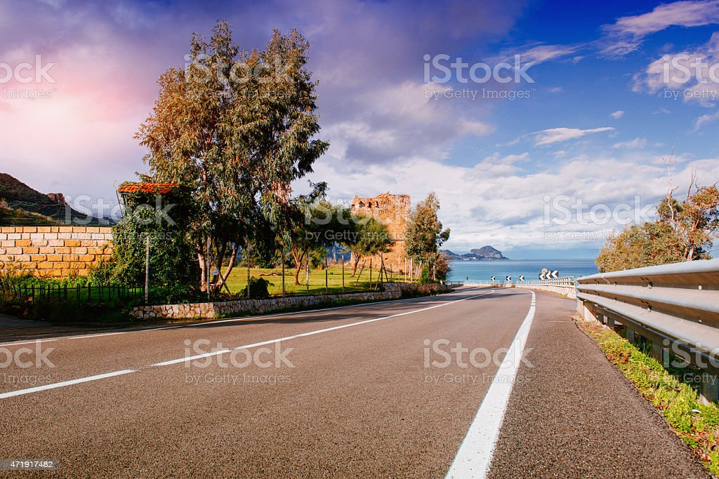 road along the sea stock photo