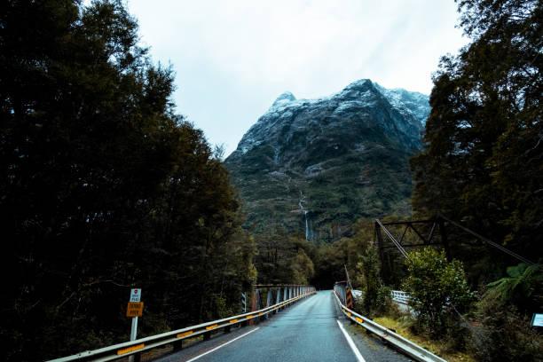 Straße unter der Szene von der grünen Natur und Ford Land am Milford Sound, Neuseeland – Foto