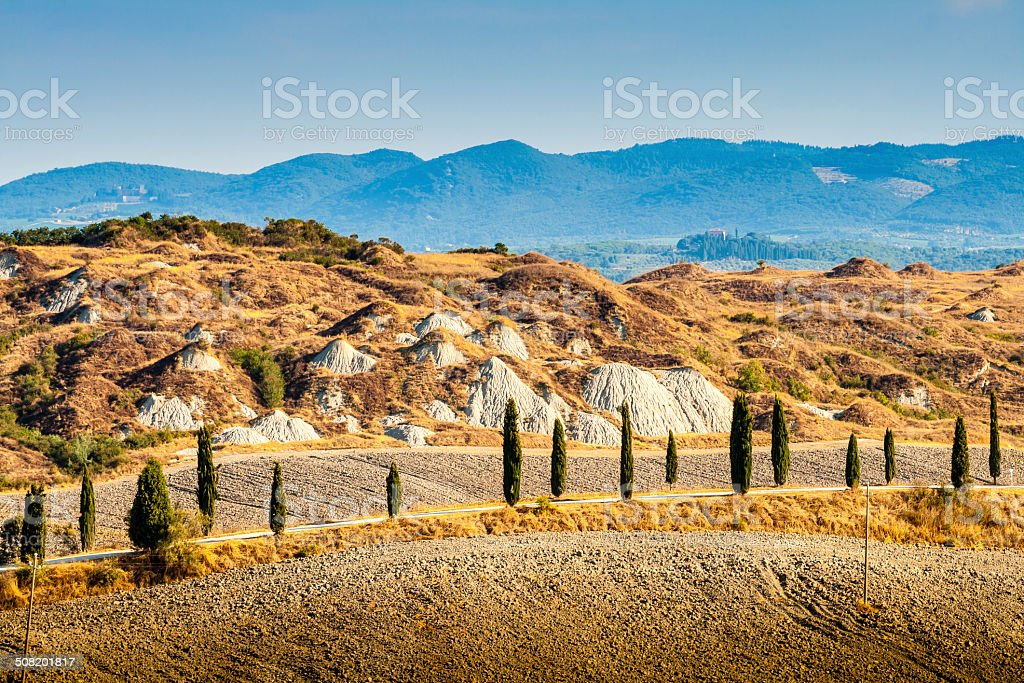 Road and cypresses on a hill in Crete Senesi, Tuscany stock photo