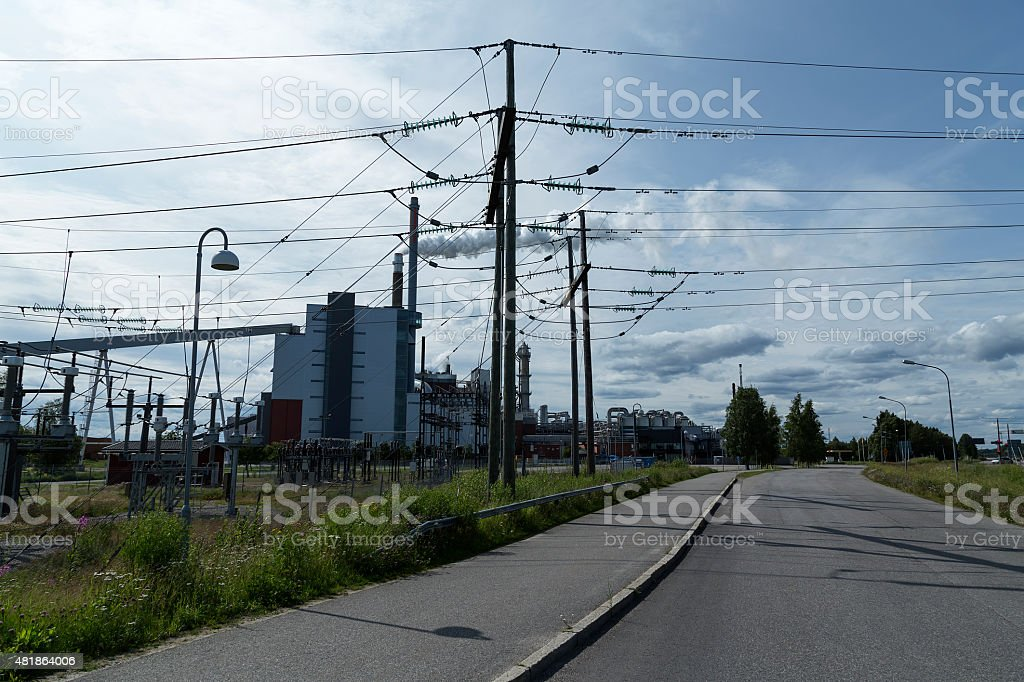 Road and factory royalty-free stock photo