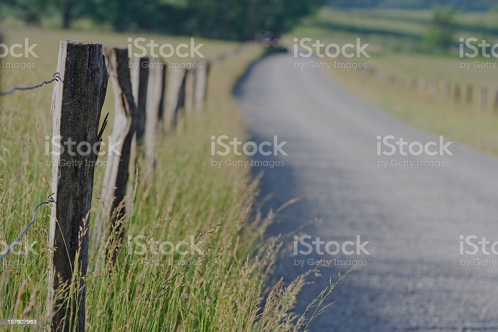 Road and fence posts in the Smoky Mountains royalty-free stock photo