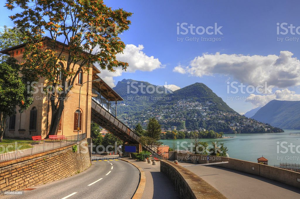 Road and mountain stock photo