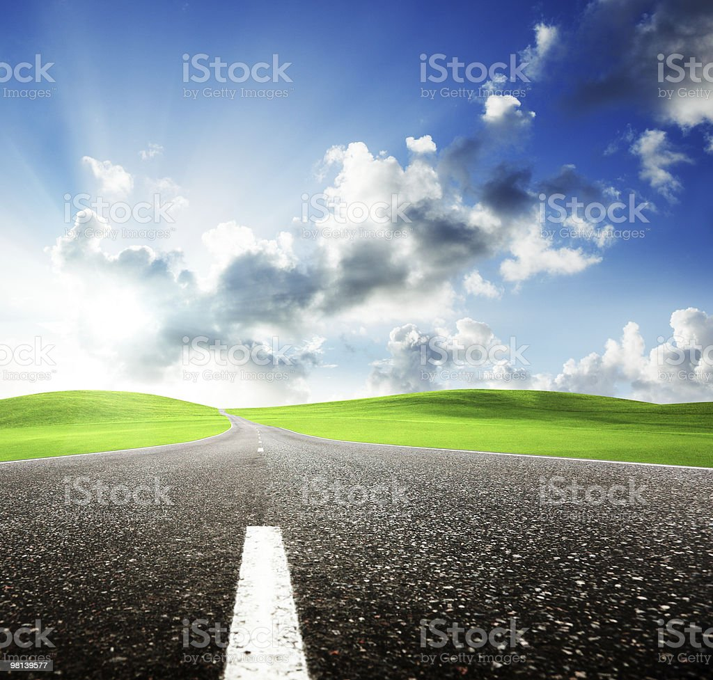 road and perfect sunset sky royalty-free stock photo