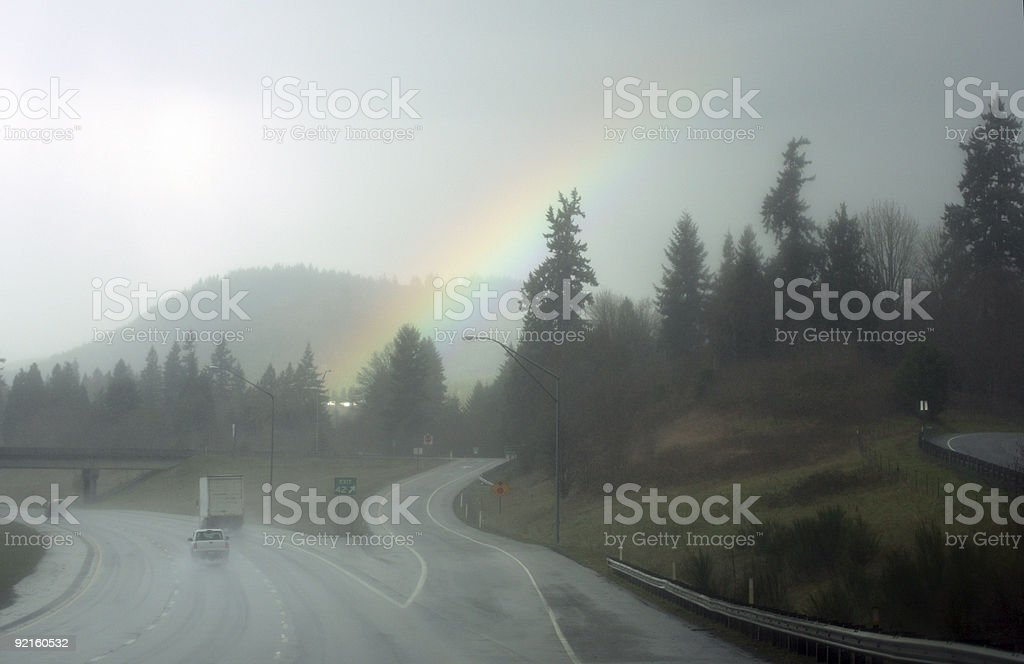 Road and rainbow royalty-free stock photo