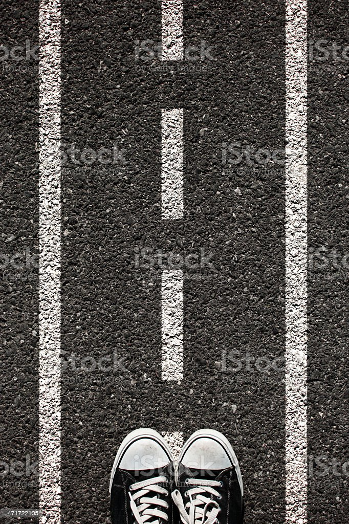 Road and shoe stock photo
