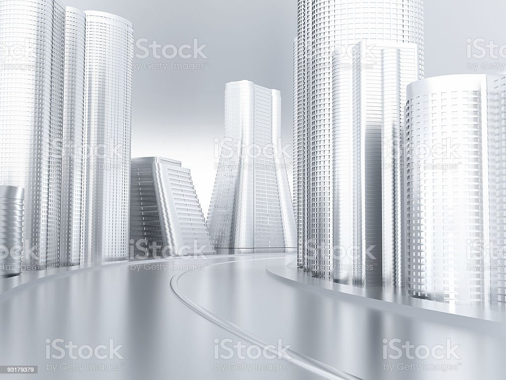 Road and skyscrapers royalty-free stock photo