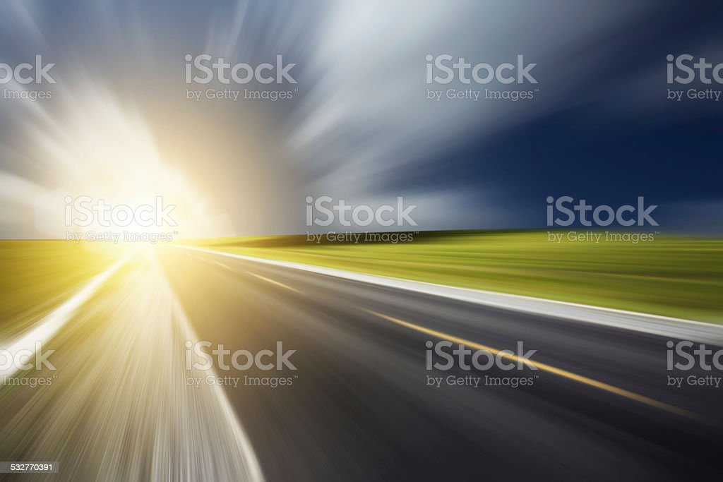 Road and sunlight stock photo