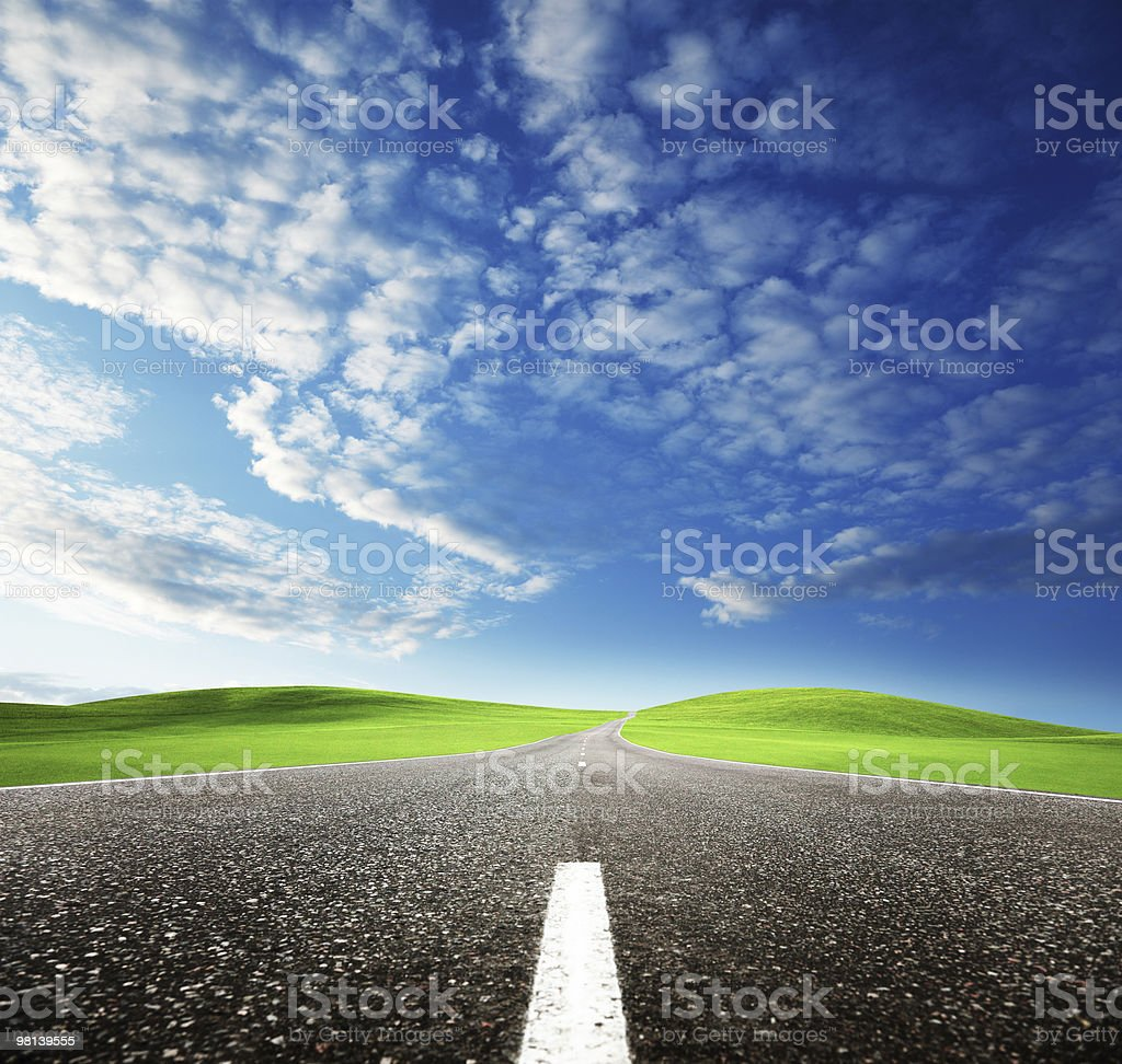 road and sunset royalty-free stock photo