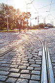 road and tram rails in Prague. Czech Republic