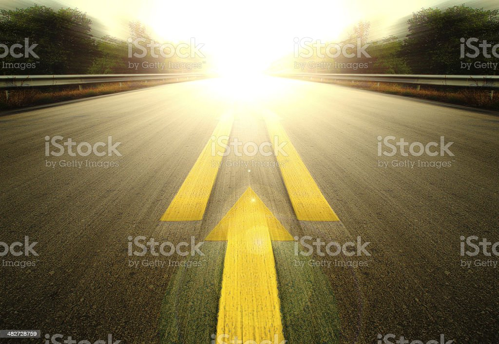Road and Yellow arrow. stock photo