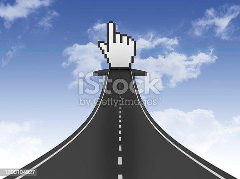 168589045 istock photo Road Arrow with Hand Cursor on Sky - 3D Rendering 1200104927