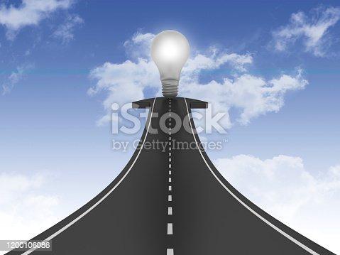 Road Arrow with Light Bulb on Sky - 3D Rendering