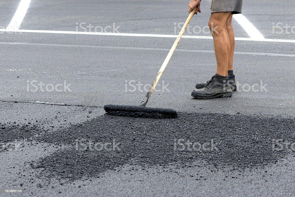 Road asphalt repair stock photo