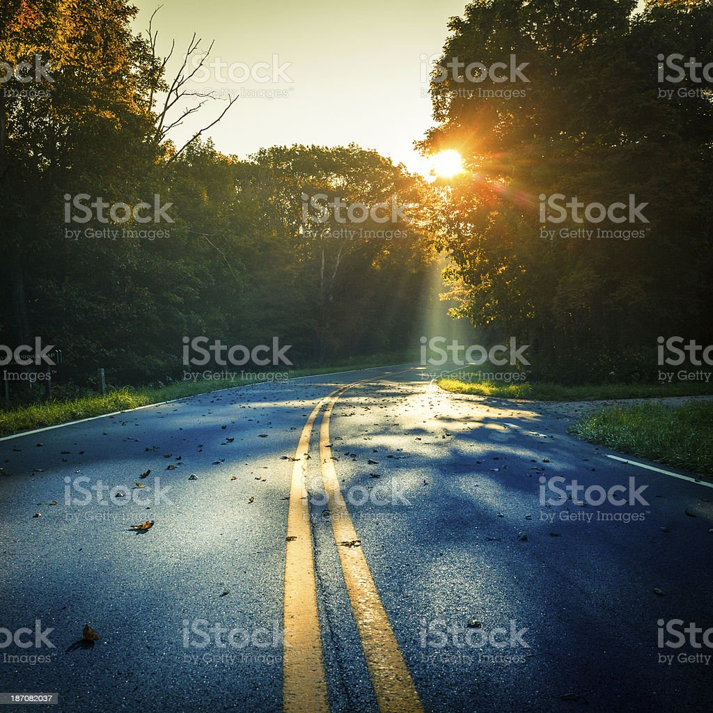 Road at Early Morning and Sun in Autumn, Virginia, USA stock photo