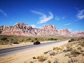 Road tho the Red rock canyon mountains in Nevada. USA