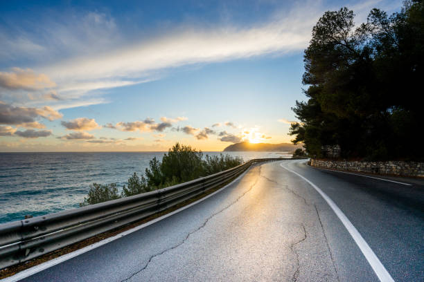 Road at Sunset Landscape In Liguria Italy stock photo