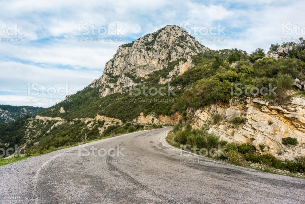 Road at the foot of the mountain, Mugla province stock photo
