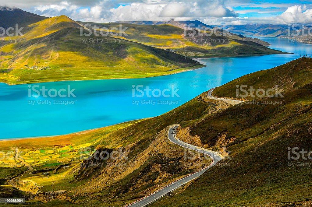 Road at Yamdrok Lake stock photo