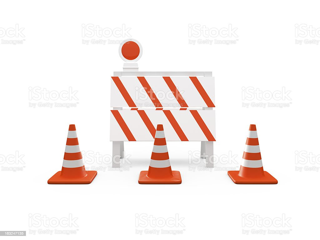 Road Barrier and Traffic Cones royalty-free stock photo