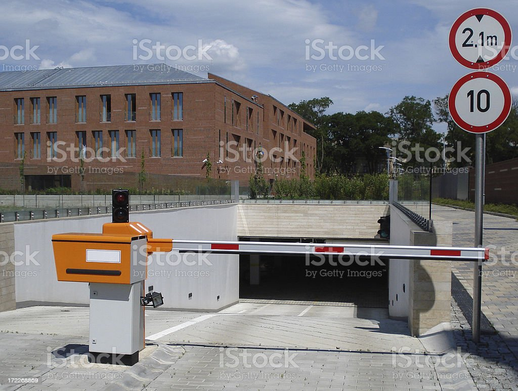 road barrier at the garage entrance royalty-free stock photo