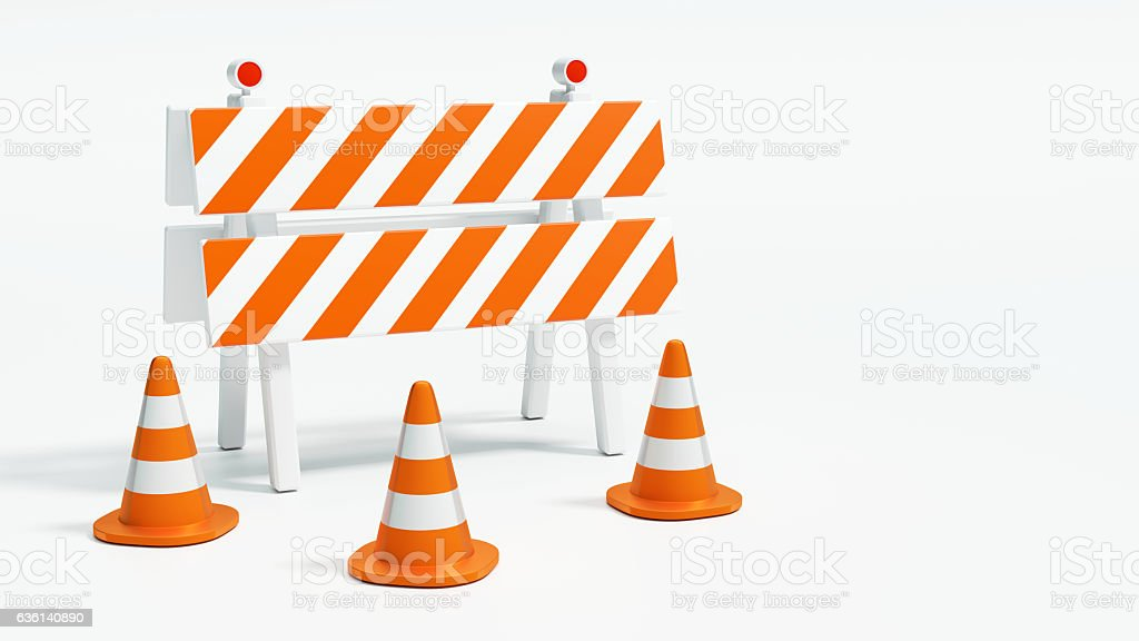 Road barrier with road cones on white background 3d illustration – Foto