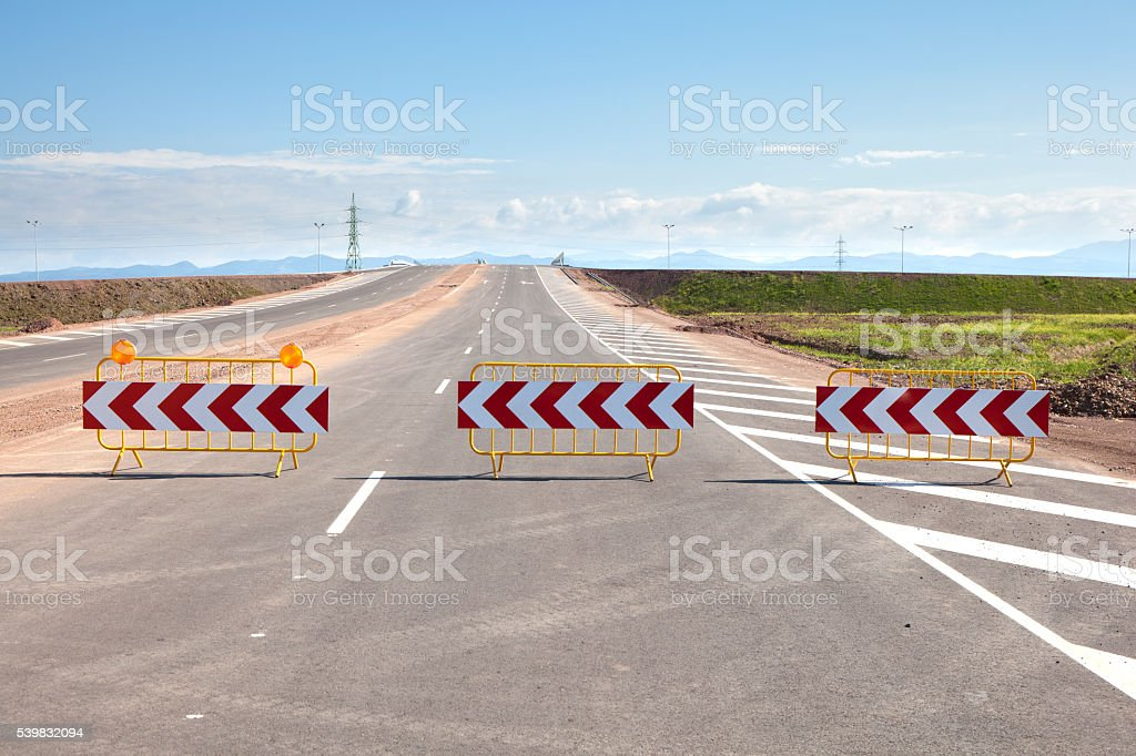 Road Barriers on a New Road stock photo